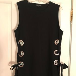 Black Topshop Sleeveless Tunic w/ lace-up detail
